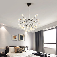 New Modern heracleum Design Glass bubble chandelier Indoor home Kitchen Hallway Restaurant black and gold tree branch chandelier