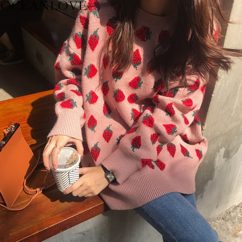 OCEANLOVE Sweet Women Sweaters Strawberries Print Long Pullovers Tops 2020 Autumn Winter Loose Sueter Mujer Girls Knitwear 12498