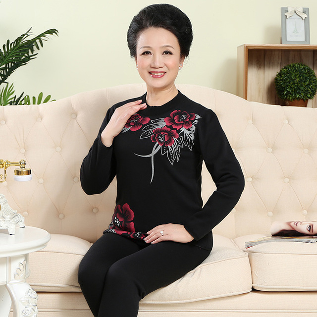 Turtleneck 100%Cotton Thermo Underwear For Women Middle-aged Plus Size Thicken Warm Suit Printed Men's Winter Thermal Clothing