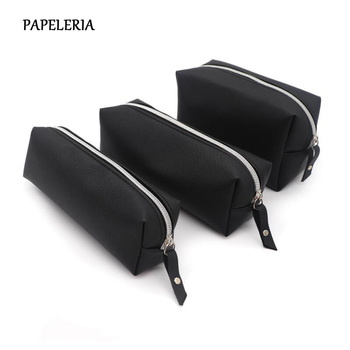 Black Pencil Case For Girls School PU Leather Big Capacity Bag Pencilcase Supplies Stationery Gifts - discount item  18% OFF School Supplies