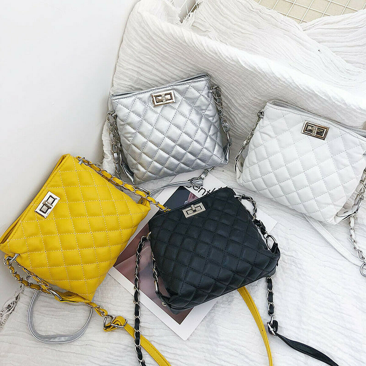 Women Lady Fashion PU Leather Handbag Shoulder Bag Messenger Satchel Shoulder Crossbody Holiday Delicate Chain Pack
