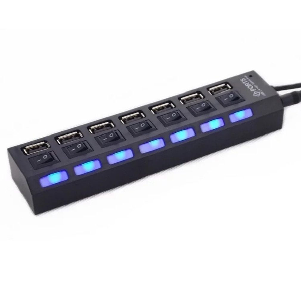 7 Ports Usb Hub LED USB High Speed 480 Mbps Adapter USB Hub With Power On Off Switch For PC Laptop Computer PC Laptop With ON/OF