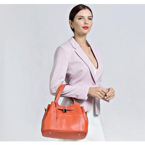 Image 2 - Zency 100% Soft Genuine Leather Elegant Women Shoulder Tote Bag Charm Orange Fashion Messenger Crossbody Purse With Lock Handbag