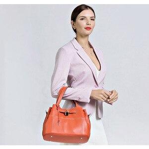 Image 2 - Zency 100% miękkie prawdziwej skóry eleganckie kobiety torba na ramię urok pomarańczowy moda Messenger Crossbody torebka z torebka na zamek