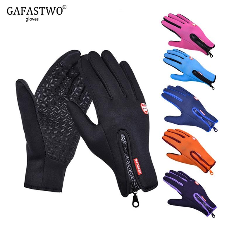 Winter Warm Touch Screen Man Gloves Ski Lady Waterproof Rain-proof Fashion Outdoor Windproof Riding Zipper Sports Gloves Women