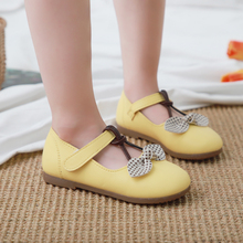 Girls Bow leather PU shoes Spring Autumn Children princess shoes student shoes New Kids girls baby leisure Sneakers girls leather shoes 2019 spring autumn children flat with princess shoes pu baby girls hook loop antiskid soft bottom shoes 242