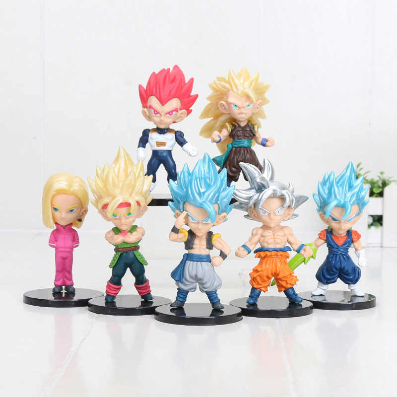 10cm 7 pçs/set Figura Dragon Ball Z Super Saiyan Goku Vegetto Bardana gogeta PVC Action Figure Collectible Modelo Toy