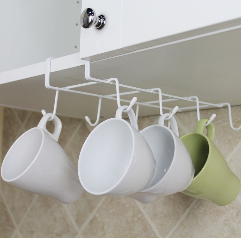 Cabinet Nail-free Wine Coffee Cup Rack Creative Kitchen Seamless Metal Hanging Cup Holder Partition Towel Hang Storage Rack