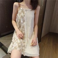 Women's Kawaii Lovely Dresses Ins Chic Loose Off Shoulder Sweet Sequined Strap Dress Female Sweet Harajuku Punk Clothe For Women