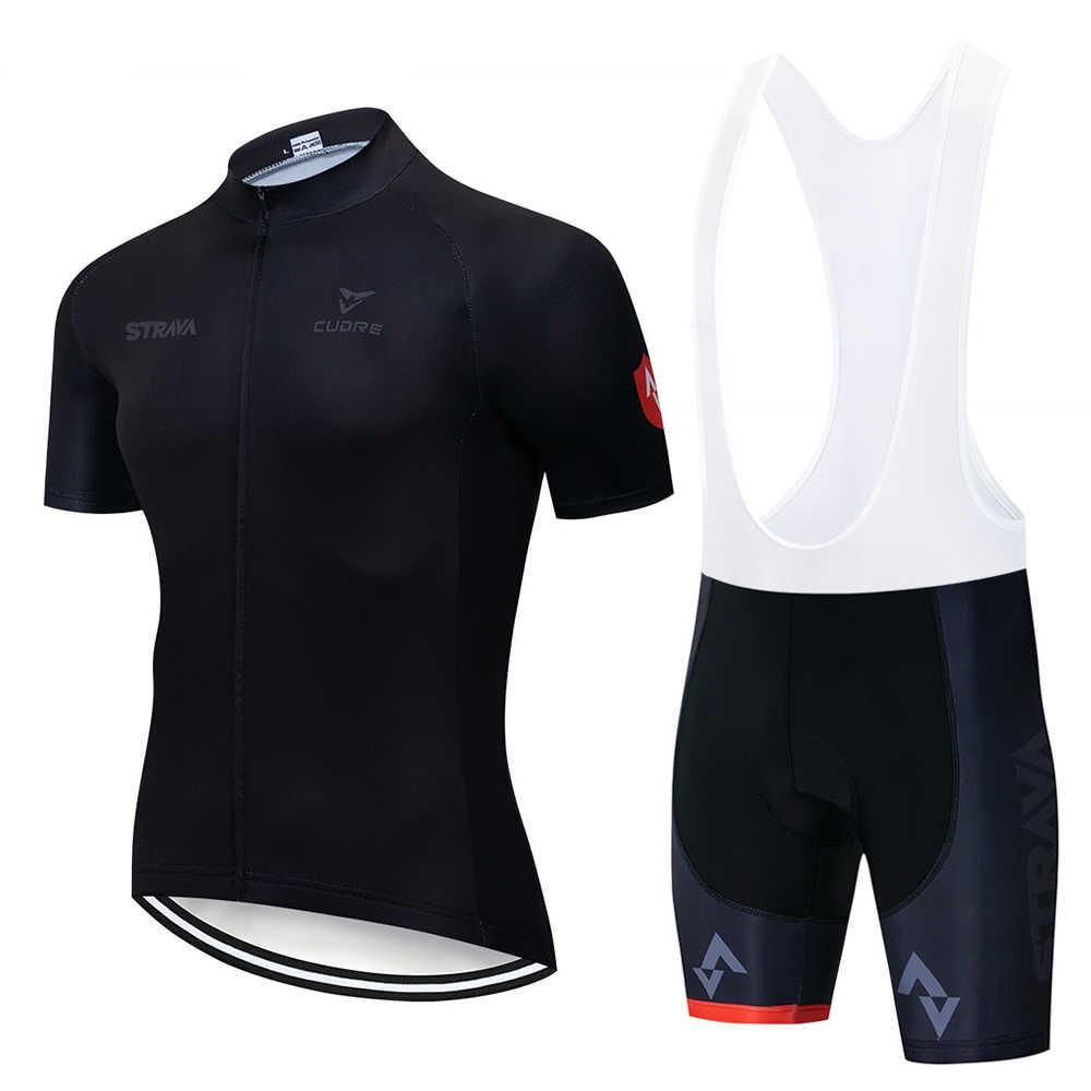 2019 קיץ Strava חדש רכיבה על אופניים ג 'רזי קצר שרוול סט מאיו Ropa Ciclismo Uniformes מהיר יבש אופני בגדי MTB מחזור בגדים
