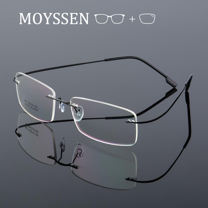 Customized Men Women Business Optical Prescription Eyeglasses Myopia Presbyopia Progressive Titanium Alloy Rimless Glasses