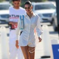 Kendall Jenner-vestido de camisa de manga larga de seda blanca, prendas de vestir informales con cordón, 2021