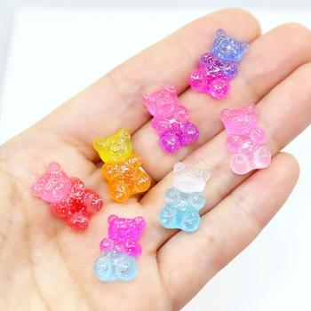 wholesale !Kawaii  soft sweets Gummy bear Gradient color Flatback Resin Cabochons for headwear Earrings pendants accessories