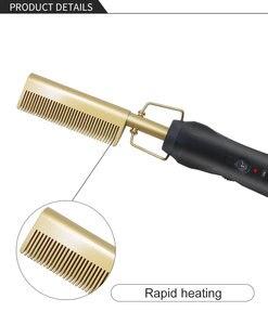 Image 5 - ทองสีดำใหม่ล่าสุดทองผมหวีFast Smoothingไฟฟ้าผมStraightenerแปรงเซรามิคอุณหภูมิความร้อน