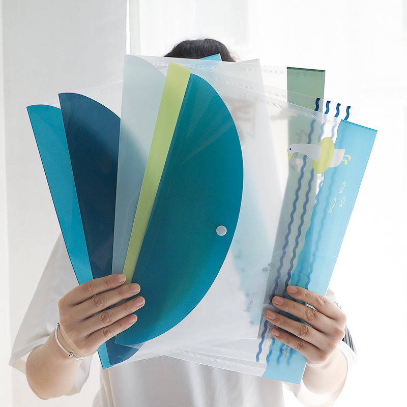 8PCS Environmental A4 File Bag Transparent Information Bag Student Office Business Waterproof Folder Filing Products