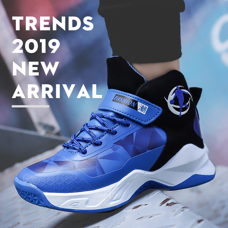 Basketball-Shoe All-Seasons Black Kids Boy Rubber For Blue Wearable Big-Boy Size-31-39