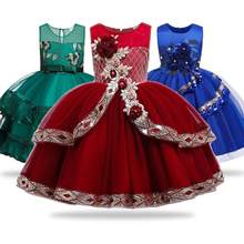 Kids Girls Christmas Princess Dress for Wedding Birthday Party Clothes Satin Vestidos Costume for Age 3 4 5 6 7 8 9 10 Years(China)