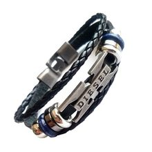 new bracelet Men casual fashion braided leather bracelets for men women wood bead bracelet punk rock men jewelry drop shipping(China)