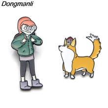 P3655 Dongmanli The Infinity Train Dogs Metal Enamel Pins and Brooches for Fashion Lapel Pin Backpack Bags Badge Gifts