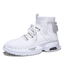 2019 New Socks Casual Shoes Mens Comfortable High-top Cotton Fabric Sneakers Thick Soles Platform Sports Male Ankle Boots