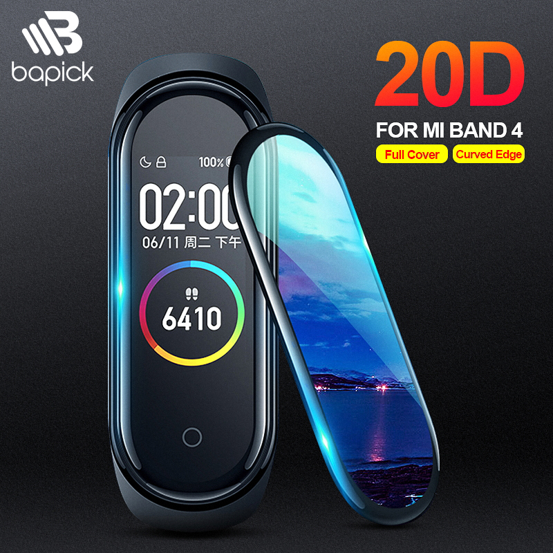 BAPICK 20D Protective Glass For Xiaomi Mi Band 4 Glass Film Scratch-Resistant Protector Mi Band 4 Screen Protector Curved Edge