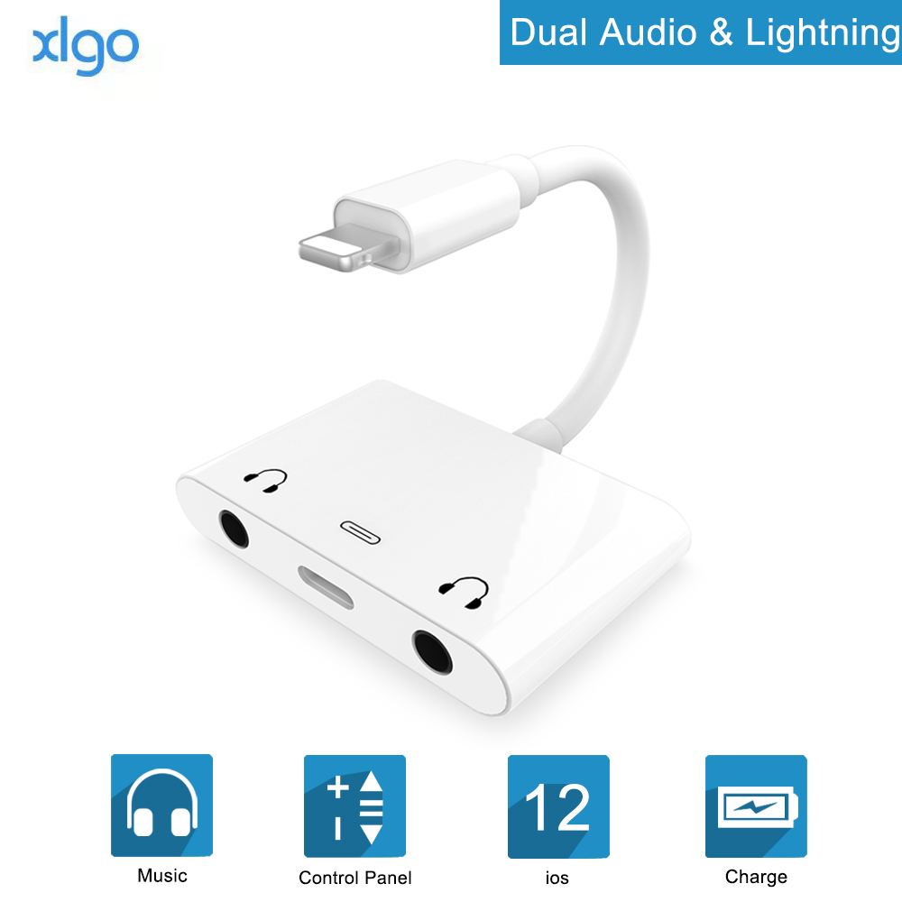 Audio adapter for Lightning to Dual DC3.5mm Headphones Aux jack Phone Call Splitter Charging <font><b>Adaptor</b></font> For iPad <font><b>iPhone</b></font> X/XS/XR/8/<font><b>7</b></font> image