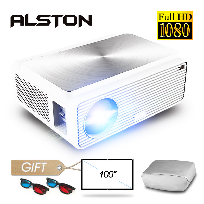ALSTON Q9 Full HD 1080p projector 4k 6500 Lumens cinema Proyector Beamer HDMI USB AV VGA with gift(China)