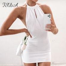 FSDA 2021 abito in maglia senza maniche Backless Mini donna bianco blu estate Sexy nero Casual partito fasciatura abiti aderenti da spiaggia