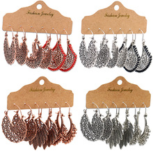 цена на Fashion 3 Pair/set Vintage Hollow Out Drop Dangle Earrings Set for Women Antique Silver Color Ethnic Earring Party Gift