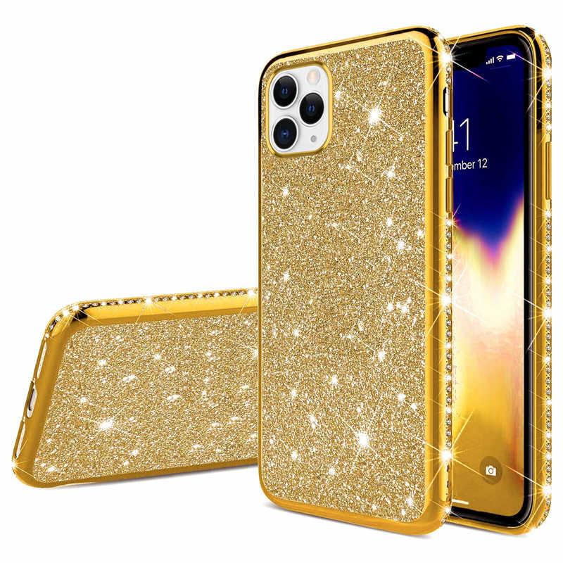 יוקרה יהלומי סיליקון מקרה עבור iphone 11 פרו max XR XS מקסימום X כיסוי מקרים עבור iphone 6 6s 7 8 בתוספת מבריק רך TPU כיסוי מקרי