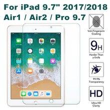 Filme de vidro temperado protetor de tela para ipad 6th 2017 5th geração ar air2 pro 9.7 2018 película protetora vidro para ipad 5 6