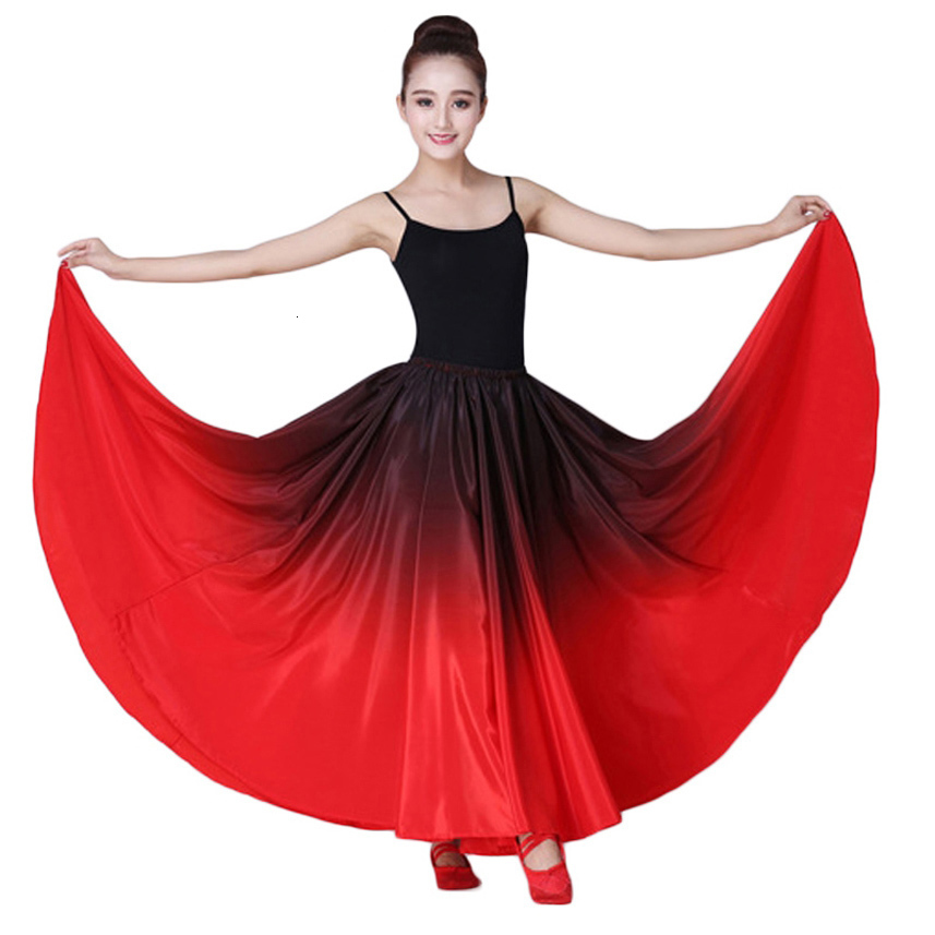 Women Spanish Flamenco Skirt Dance Practice Long Big Swing Skirt Gradient Color Performance Gypsy Skirt Lady Belly Skirt Dress