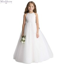 アイボリーシフォンフラワーガールのドレス 2020 結婚式フォーマルパーティーガウンスクープネックノースリーブページェント初聖体
