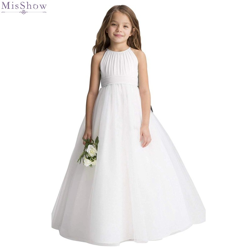 Ivory Chiffon Flower Girl Dresses 2020 Kids Wedding Formal Party Gown Scoop Neck Sleeveless Pageant First Communion