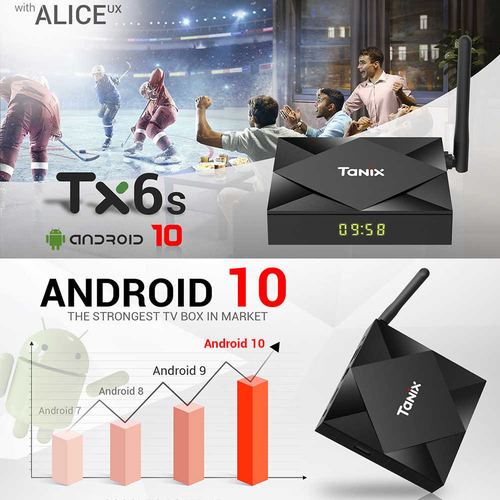 Tanix TX6S Smart TV Box Android 10 4 go de RAM 32 go 64 go Allwinner H616 Quad Core Android 10.0 TV Box H.265 4K lecteur multimédia 2 go 8 go