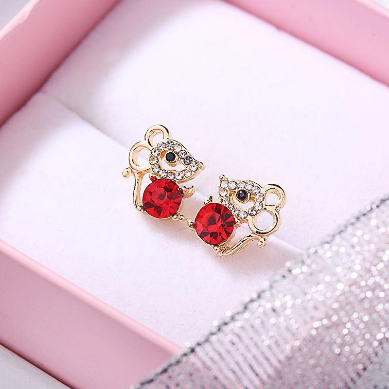Korea Style Cute Mouse Crystal Luxury Wedding Rhinestone Clip On Earrings  2020 Fashion Women Ear Clip Jewelry