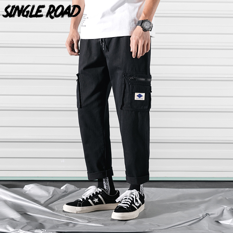 SingleRoad Men's Cargo Pants Men 2020 Ankle Length Straight Side Pockets Hip Hop Japanese Streetwear Joggers Men Trousers Male