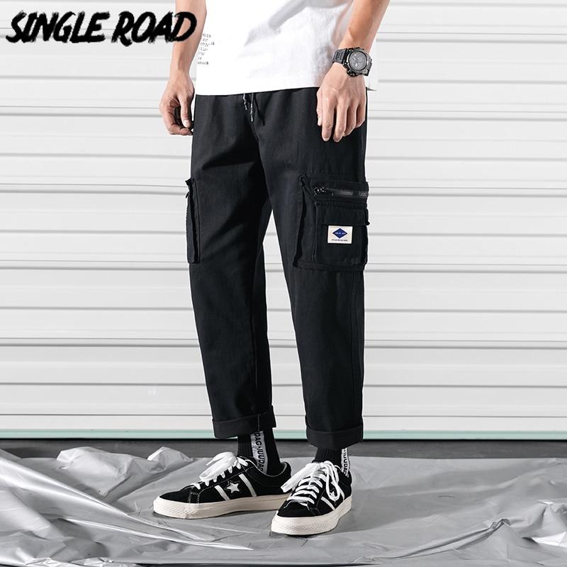 SingleRoad Men's Cargo Pants Men 2020 Ankle Length Straight Side Pockets Hip Hop Japanese Streetwear Joggers Men Trousers Male