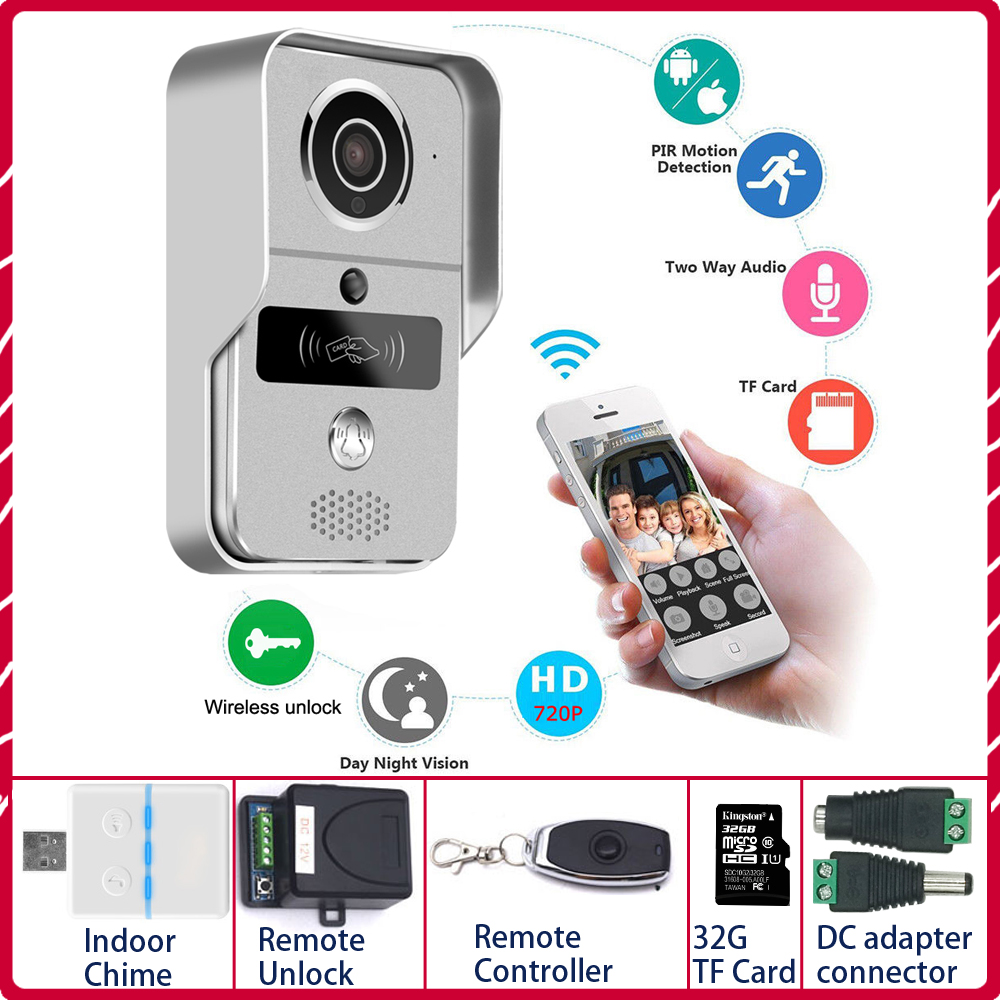 IP Video Intercom 4G Video Door Phone Ring Door Bell Doorbell WiFi Camera Alarm Wireless Security SD Card Camera Add 32GB Card