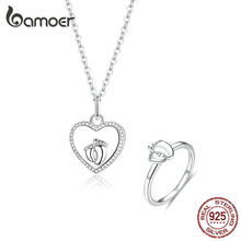 bamoer Parents and Baby Footorints Heart Pendant Necklaces and Finger Rings Jewelry Sets Women Gifts Silver 925 Jewelry ZHS159(China)