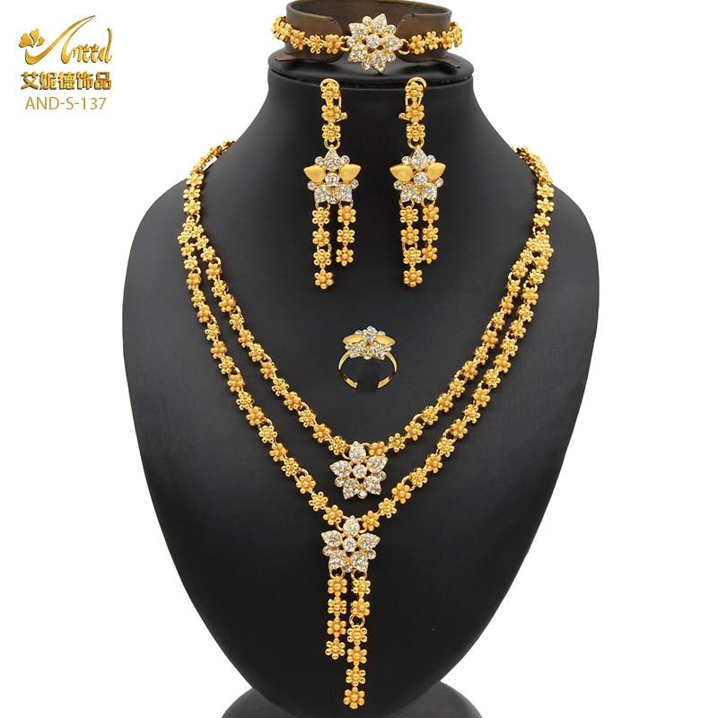 דובאי חתונה שרשרת לנשים אפריקאי תכשיטי סט צמיד עגילי טבעת כלה עיצוב זהב מצופה 24K ניגרית תכשיטים