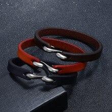 цены на 3 Color Vintage Genuine Leather Bracelet Bangle Fashion Simple Unisex Jewelry Classic Alloy Design Trendy Bracelet for Women Men  в интернет-магазинах