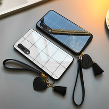 For VIVO Y19 Y17 Y15 Y12 Y5S Case Free strap Lattice Line Glossy Hard Tempered Glass Cover For vivo x30 Pro luxury phone Casing plating tpu phone case for vivo x30 x30 pro soft silicone upscale phone cases mobile phone accessories