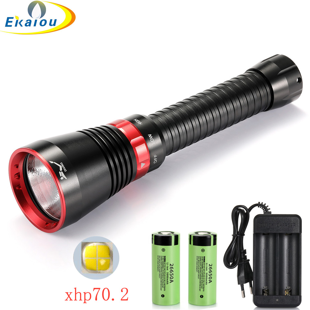 new Professional Diving Flashlight 6000 Lumens XHP70 2 LED White  Yellow light Waterproof Underwater Tactical Torch Hunting lamp