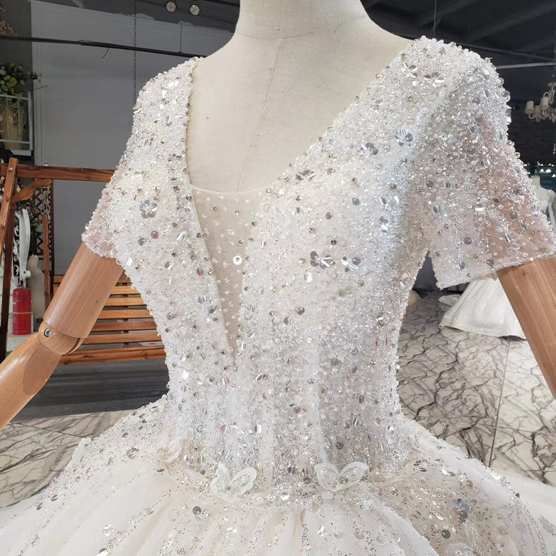 HTL1838 Top Full Of Beads And Sequins Tulled Wedding Dress 2020 Luxury Short Sleeve Lace Up Back white 6