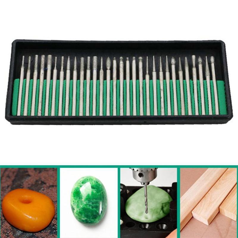 30pcs 3mm Mini Drill Bits Diamond Grinding Heads Burr File Rotary Tool Jade Carving Drill Bit Wood Stone Engraving Tools