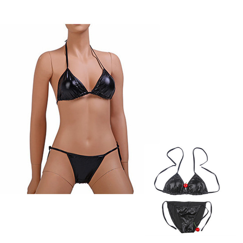 Erotic Patent Leather Bikini Set Beach Bikini Women Bra Thongs And G Strings Sexy Women Panties Sexy Lingerie Erotic Underwear
