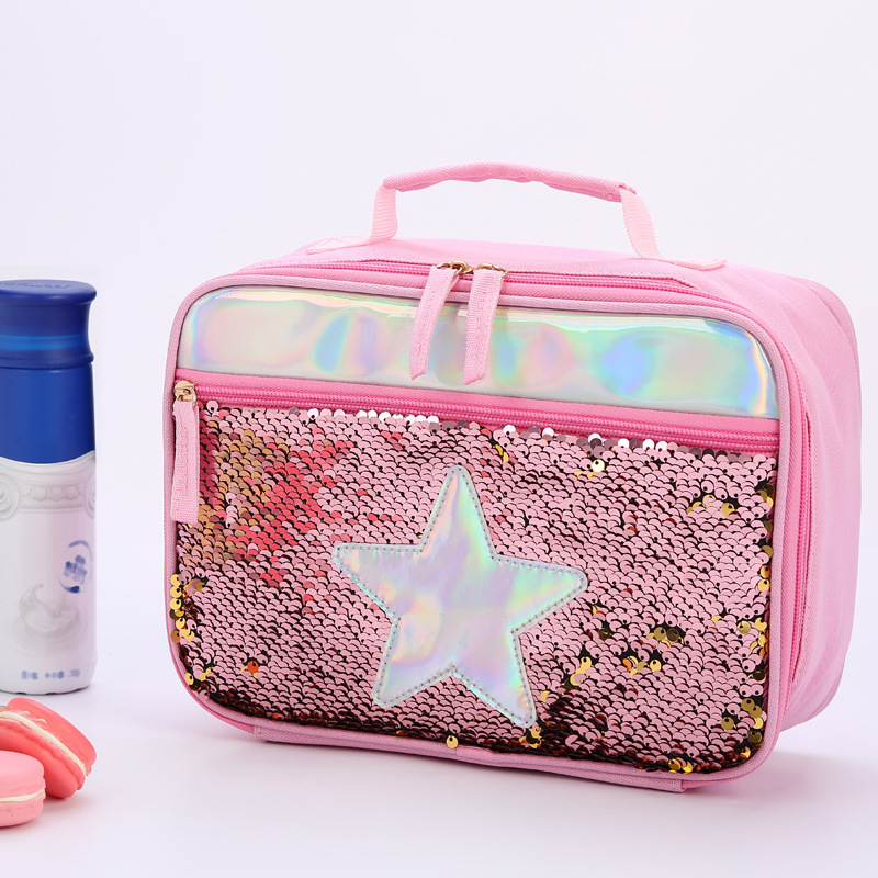 High Quality Waterproof Reverse Sequin Insulated Kid Girls Lunch Box Glitter Tote Bag Cooler Picnic Pouch For Food