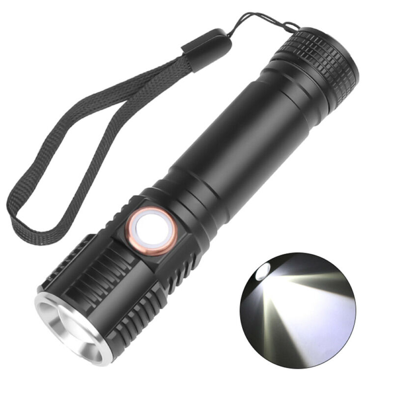 Portable T6 LED Flashlight Torch USB Rechargeable Waterproof Lamp Ultra Bright 3 Modes Dimming 60000LM