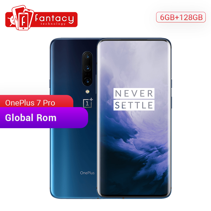 Global rom oneplus 7 pro 6 gb 128 gb smartphone 48mp câmera snapdragon 855 6.67 Polegada fluido amoled exibir impressão digital ufs 3.0 nfc